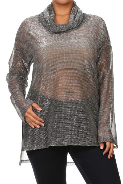 Cowl neck metallic top - orangeshine.com