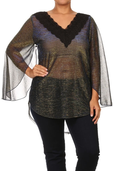 Metallic top with lace v neck - orangeshine.com