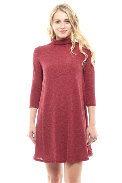 TURTLE NECK 3/4 SLEEVE DRESS - orangeshine.com