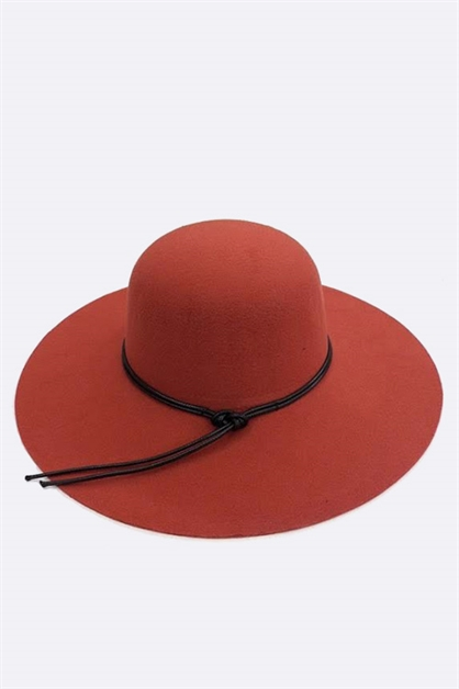 Leather Band Felt Floppy Hat - orangeshine.com