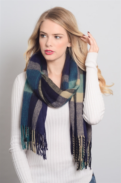 PLAID BLANKET TASSEL SCARF - orangeshine.com