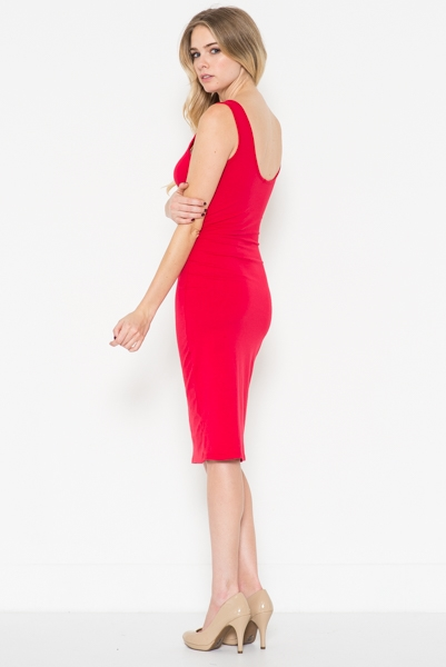 Back Scoop Neck Midi Dress - orangeshine.com