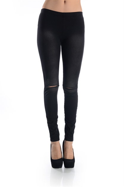 DISTRESSED SLIT KNEE LEGGING - orangeshine.com