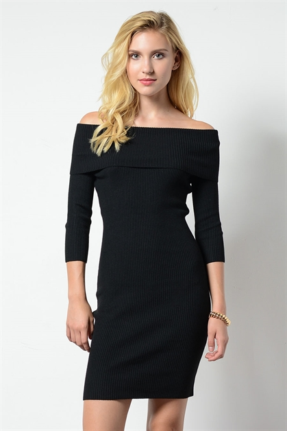 OFF SHOULDER SWEATER DRESS - orangeshine.com