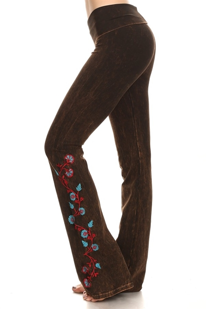 FLOWER EMBROIDERY YOGA PANTS - orangeshine.com