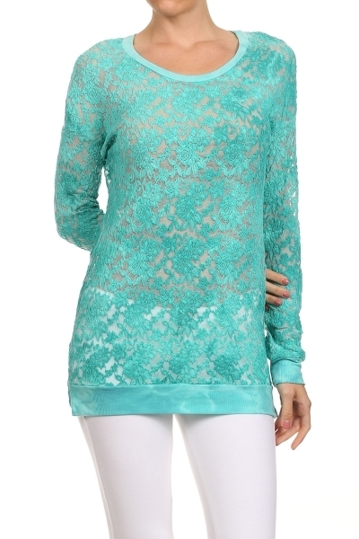 TIE DYE LACE TUNIC TOP - orangeshine.com