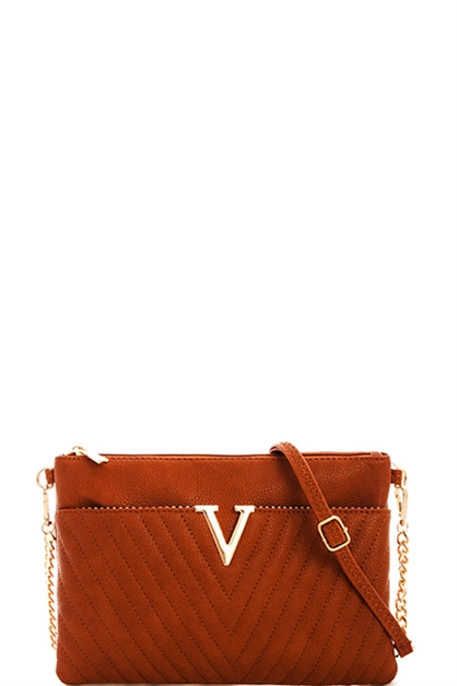 V-Accented Quilted Clutch - orangeshine.com