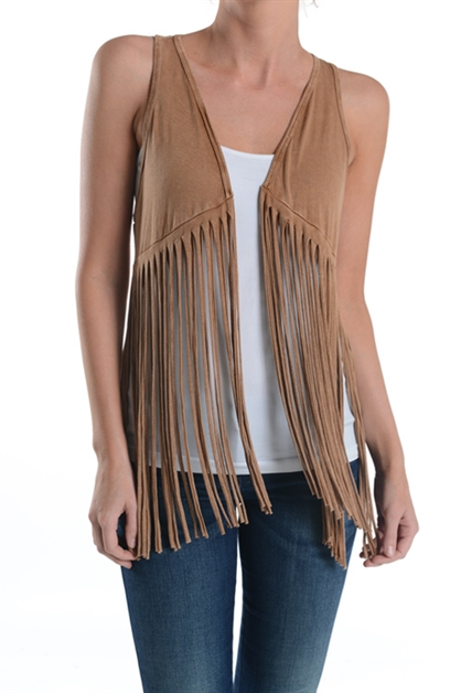 MINERAL WASHED FRINGED VEST - orangeshine.com