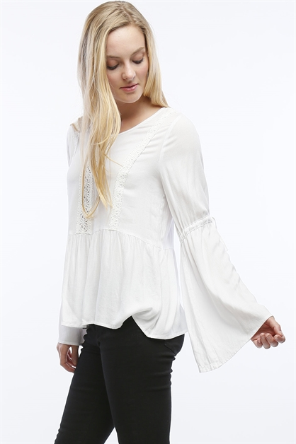 BABYDOLL TOP WITH BELL SLEEVES - orangeshine.com