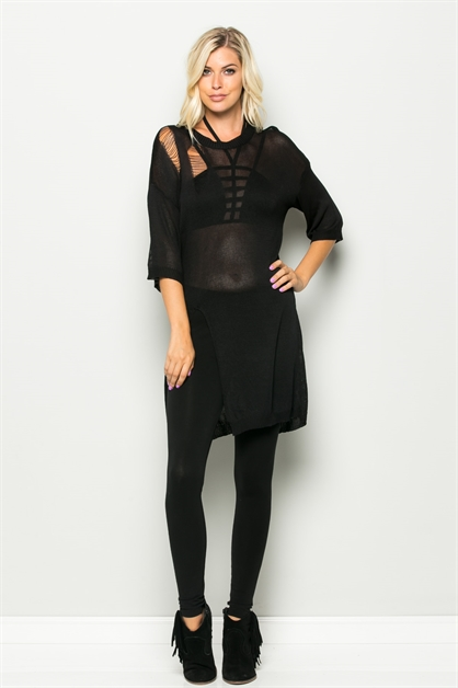 DISTRESSED SIDE CUT KNIT TUNIC - orangeshine.com