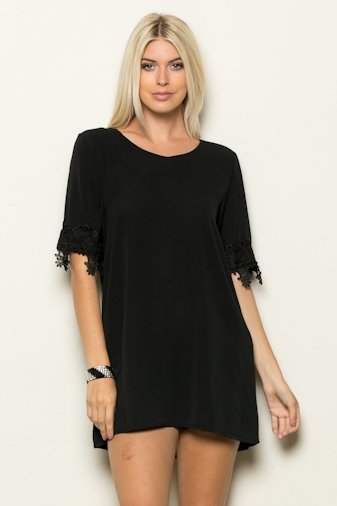 LACE BOTTOM SLV TUNIC - orangeshine.com