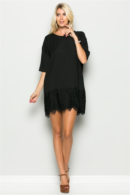 LACE BOTTOM TUNIC DRESS - orangeshine.com