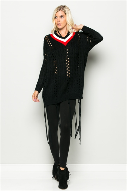 V-NECK COLORATION KNIT TOP - orangeshine.com