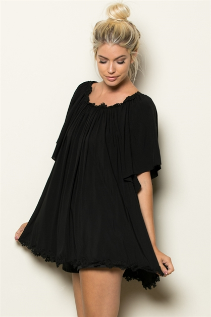 LACE TRIM NECK N BOTTOM TUNIC - orangeshine.com
