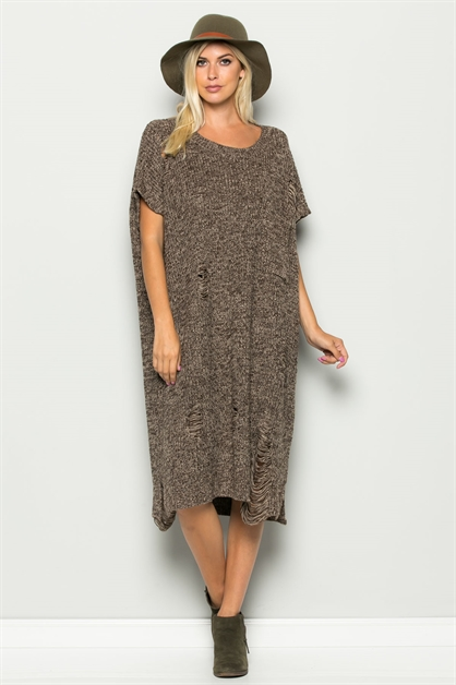 MARBLED RIBBED PONCHO DRESS - orangeshine.com