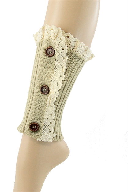 Button Accent Knit Leg Warmers - orangeshine.com