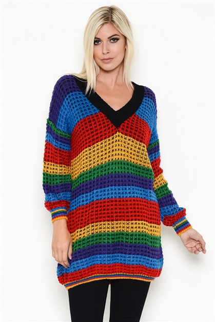 RAINBOW STRIPED LONG SWEATER - orangeshine.com
