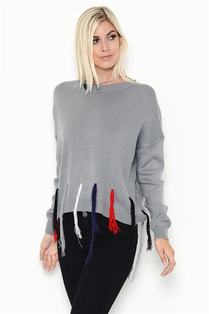 MULTI-COLOR TASSELED SWEATER - orangeshine.com
