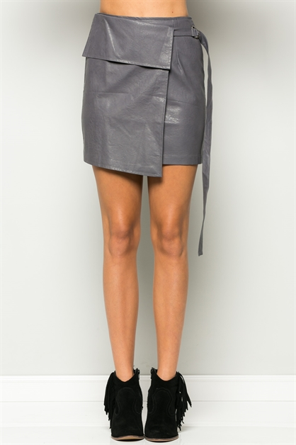WRAP COVER PU MINI SKIRT - orangeshine.com