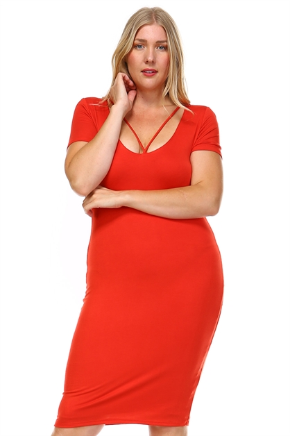 STRAPPY V NECK BODYCON DRESS - orangeshine.com