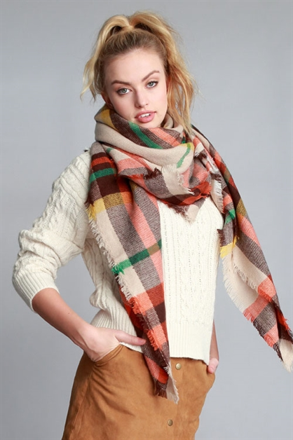 PLAID OVERSIZED FRAYED SCARF - orangeshine.com