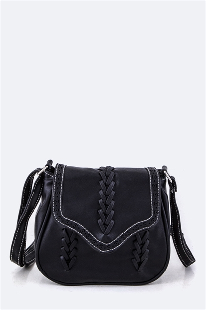 Laced Leather Crossbody - orangeshine.com