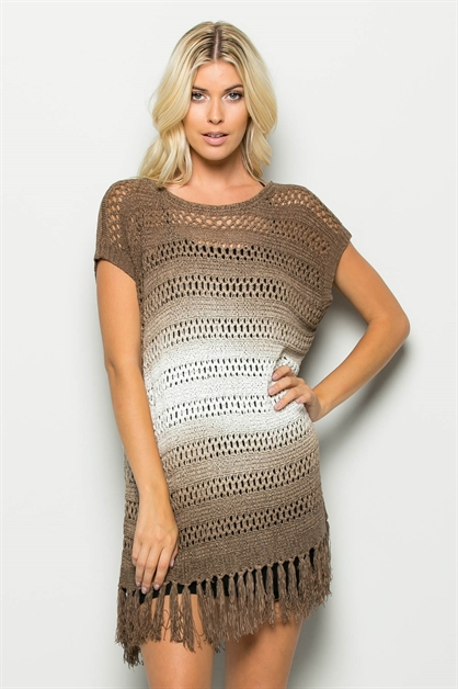 OMBRE FRINGE BOTTOM KNIT TUNIC - orangeshine.com
