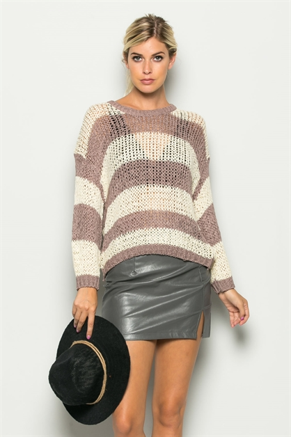 STRIPED CROCHET SWEATSHIRT - orangeshine.com