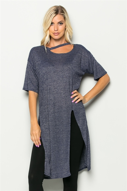 SEXY CUT  STRING NECK TUNIC - orangeshine.com