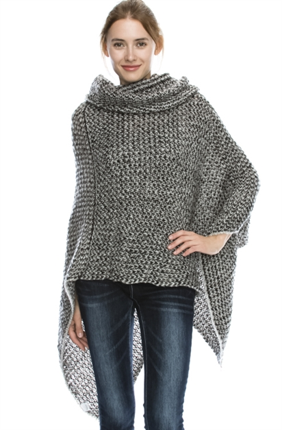 KNIT SWEATER PONCHO - orangeshine.com