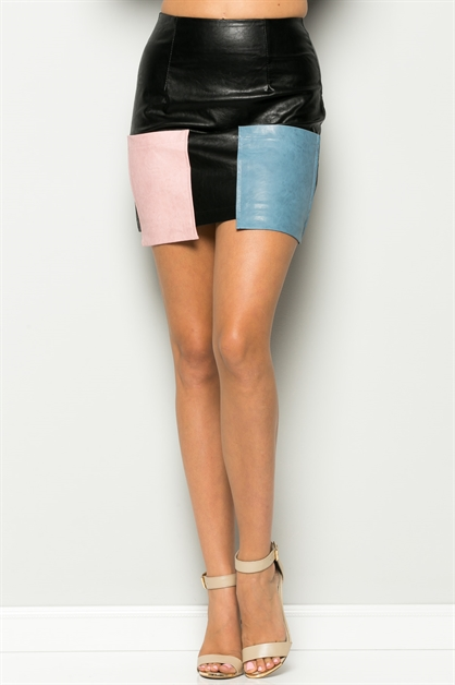 COLOR BLOCK POCKET MINI SKIRT - orangeshine.com