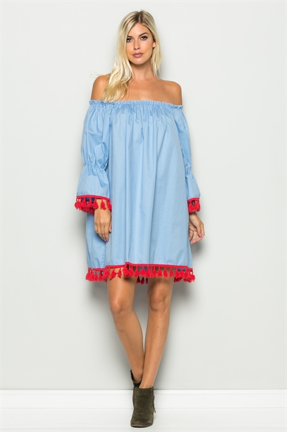 RUFFLED OFF-THE-SHOULDER DRESS - orangeshine.com