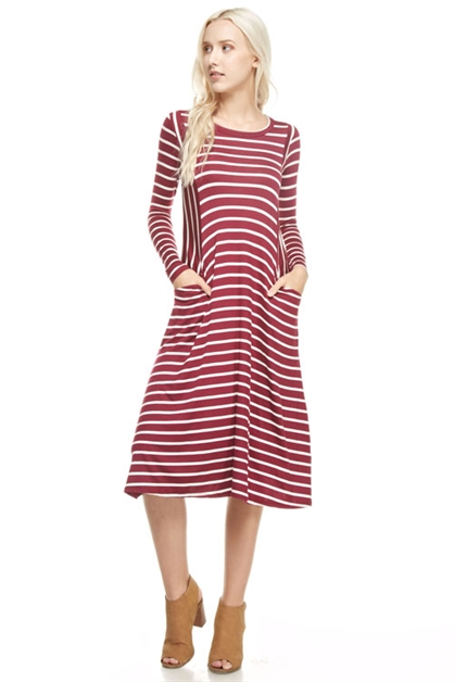 Striped Pocket Dress - orangeshine.com