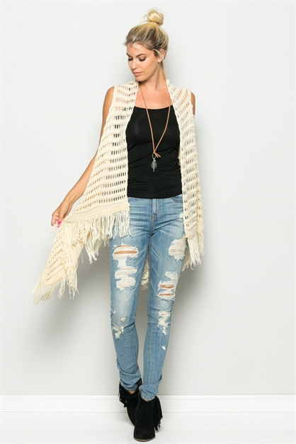 3-WAY FRINGE BOTTOM VEST - orangeshine.com