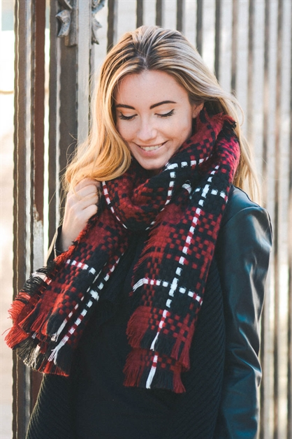 Basketweave Plaid Scarf - orangeshine.com