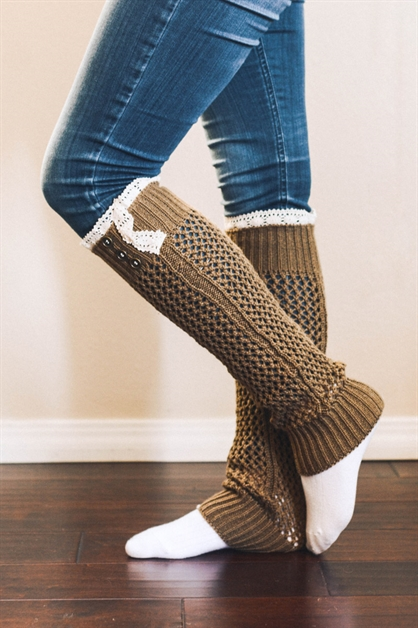Ribbed Lace Leg Warmer - orangeshine.com