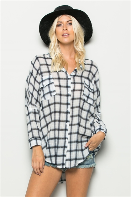 PLAID BUTTON DOWN SHIRT - orangeshine.com