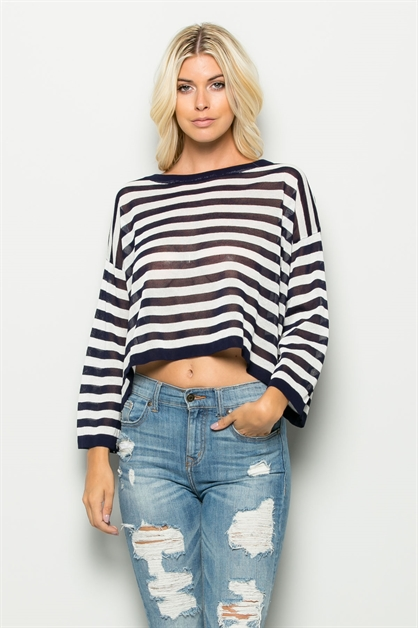 STRIPE KNIT TEE-TOP - orangeshine.com