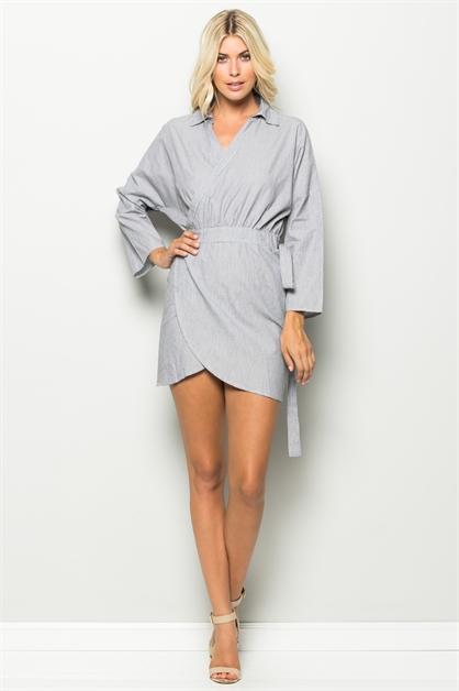 WRAP TIE MINI DRESS - orangeshine.com