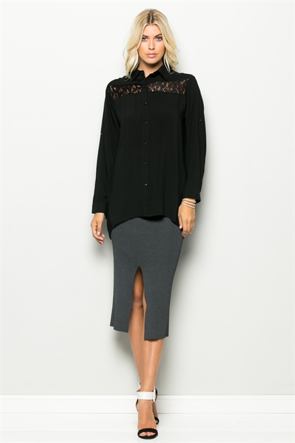 PARTIALLY LACE BUTTON SHIRT - orangeshine.com