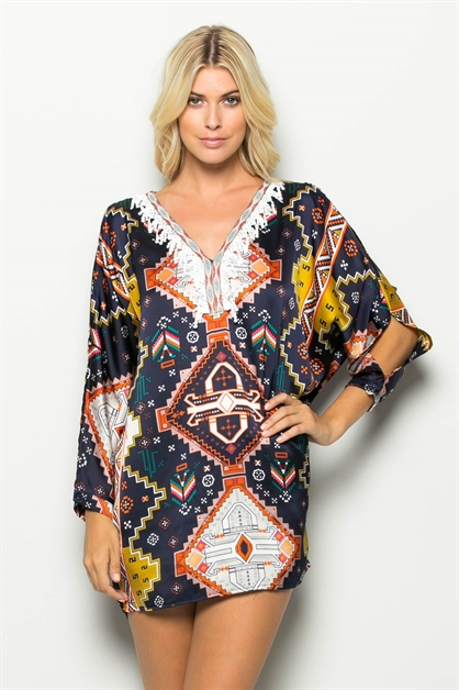 OPEN SLEEVE PRINT  TUNIC - orangeshine.com