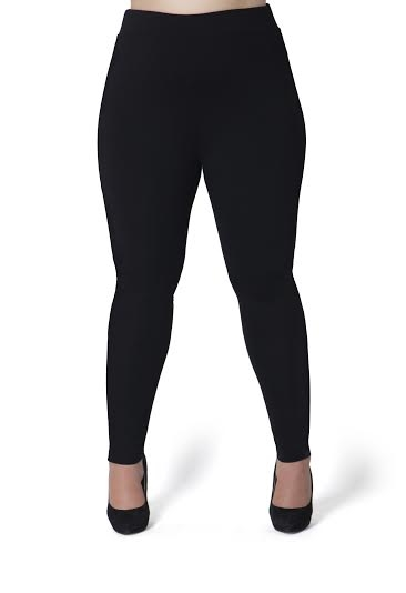 Plus Size Hi-Waist Black Leggings - orangeshine.com