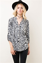 Leopard Print V-Neck Top - orangeshine.com