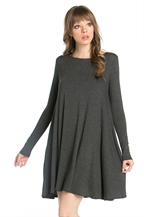 LONG SLEEVE POCKET SWING DRESS - orangeshine.com