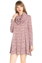 COW NECK STRIPE KNIT DRESS - orangeshine.com