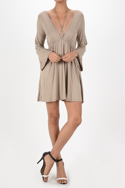 Long bell sleeve strap dress - orangeshine.com