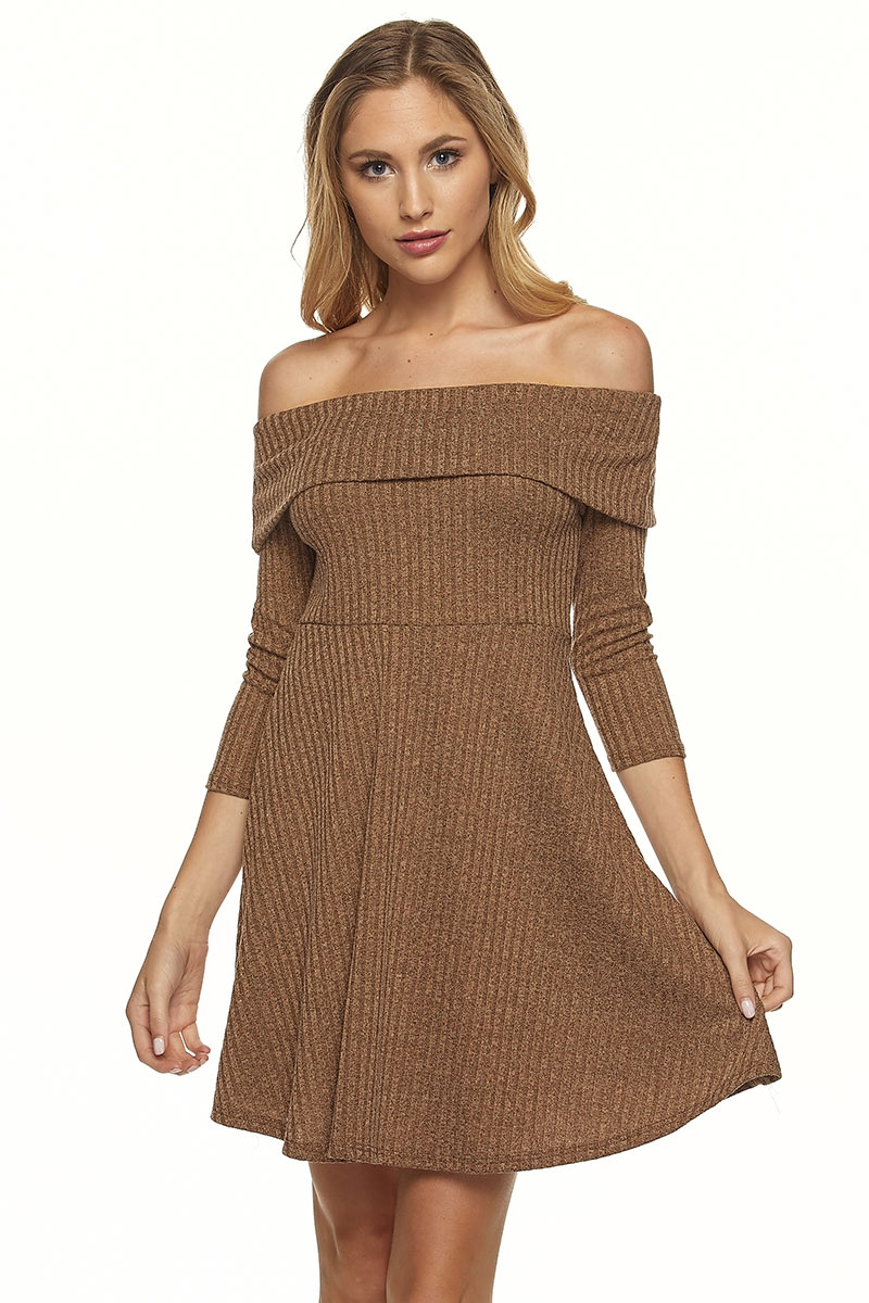 OFF SHOULDER RIB SKATER DRESS - orangeshine.com