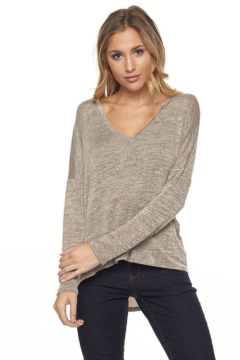 V NECK BABY HACCI LONG SLV TOP - orangeshine.com