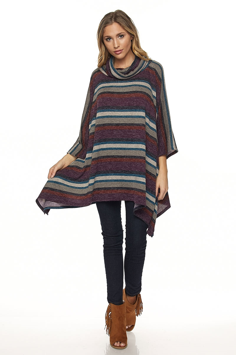 MOCK NECK STRIPE PANCHO - orangeshine.com