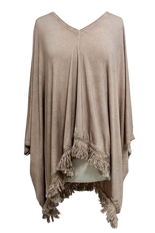 Wash Dye Knit Poncho - orangeshine.com
